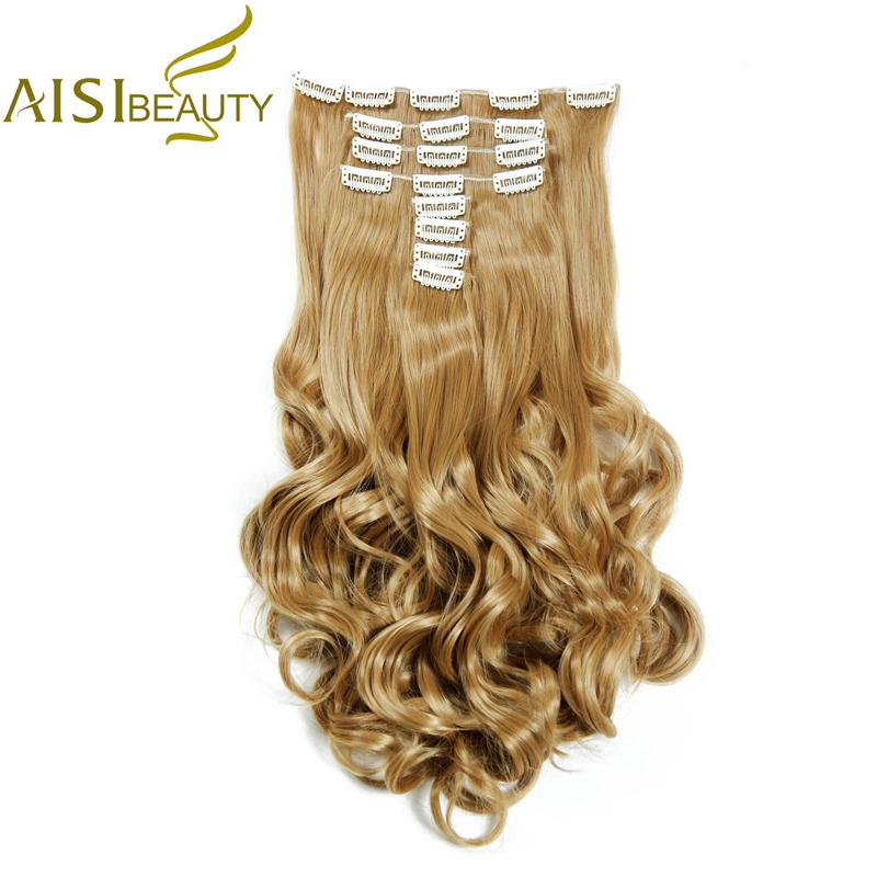 AISI BEAUTY 18 Clips / 8 Pieces / 1 Set 180g High Temperature Fiber Curly Synthetic Clip in Hair Extensions for Women