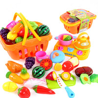 Kids Kitchen Toys Children Cutting Vegetables Fruit Plastic Food Set Girls Cooking Pretend Play Toy Shopping Basket Playset Gift