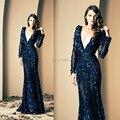 Роскошные вечерние платья глубокий V шеи , ручная цветы аппликации русалка с длинным рукавом королевский синий пром платья 2015 зияд nakad
