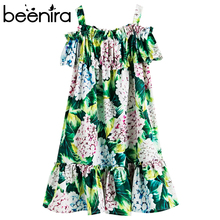 Beenira בנות קיץ שמלת 2020 חדש אירופאי ואמריקאי סגנון ילדי פרח דפוס שרוולים Dresses4 14Y ילדים חמוד שמלה