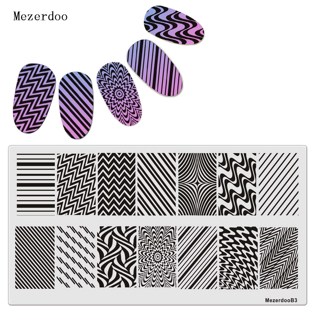 Mezerdoo Wave Net Texture Patterns Manicure Nail Art Stamp Template Image Plate Stamping Plate 12*6cm B3