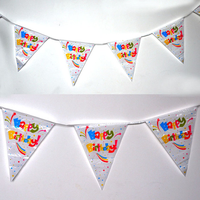 4m Free Shipping Happy Birthday Pe Flags Plastic Party Buntings