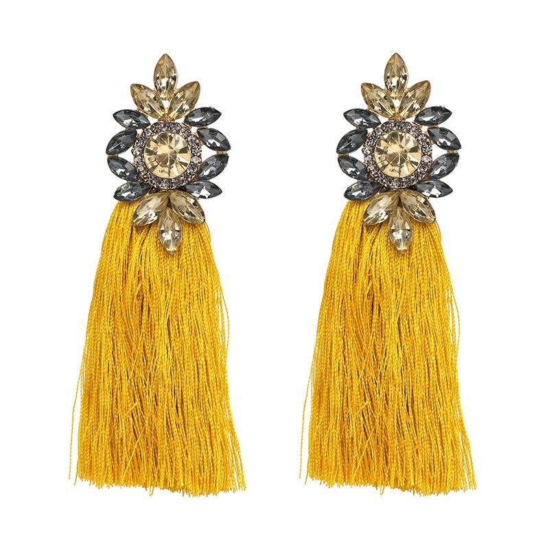 Модные женские серьги с бахромой и кисточками, Лидер продаж, новый дизайн, висячие серьги с кристаллами, Висячие ювелирные изделия
