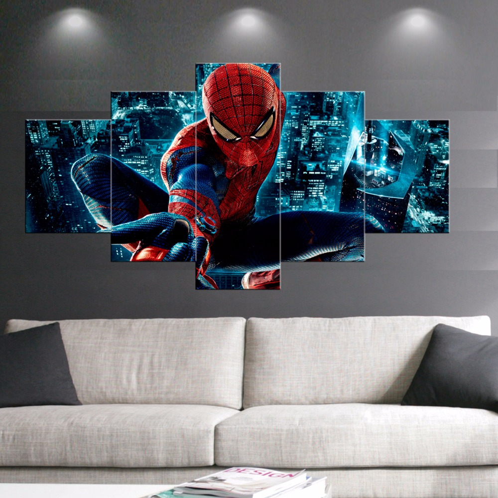 online get cheap spider man pictures aliexpress com alibaba group 5 pcs print posters spider man movie poster painting modern home decor wall art picture print