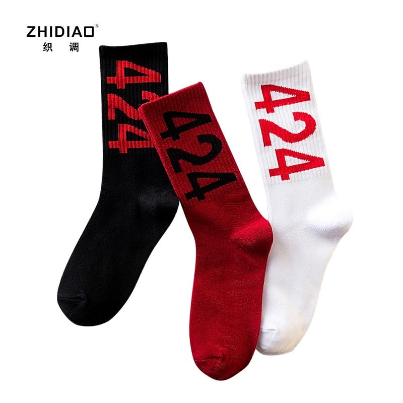 Winter men socks cotton hip hop funny socks for men deodorant thermal sock skateboard chaussette homme 424 print men happy socks