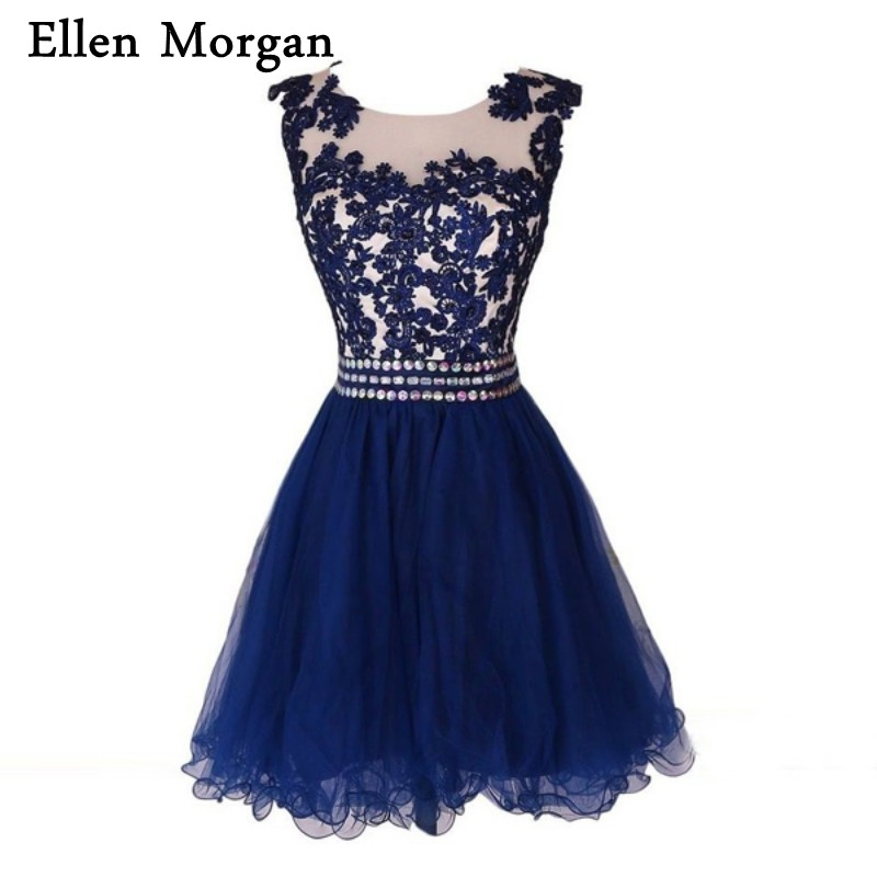 Navy Blue Homecoming Dresses Cocktail Tulle Knee Length Lace Prom Students Back to School Short