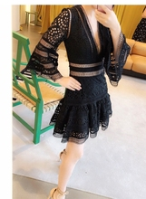 SMTHMA Self portrait 2018 New arrive High quality embroidery lace V neck dress Flare Sleeve Runway Chic Dress