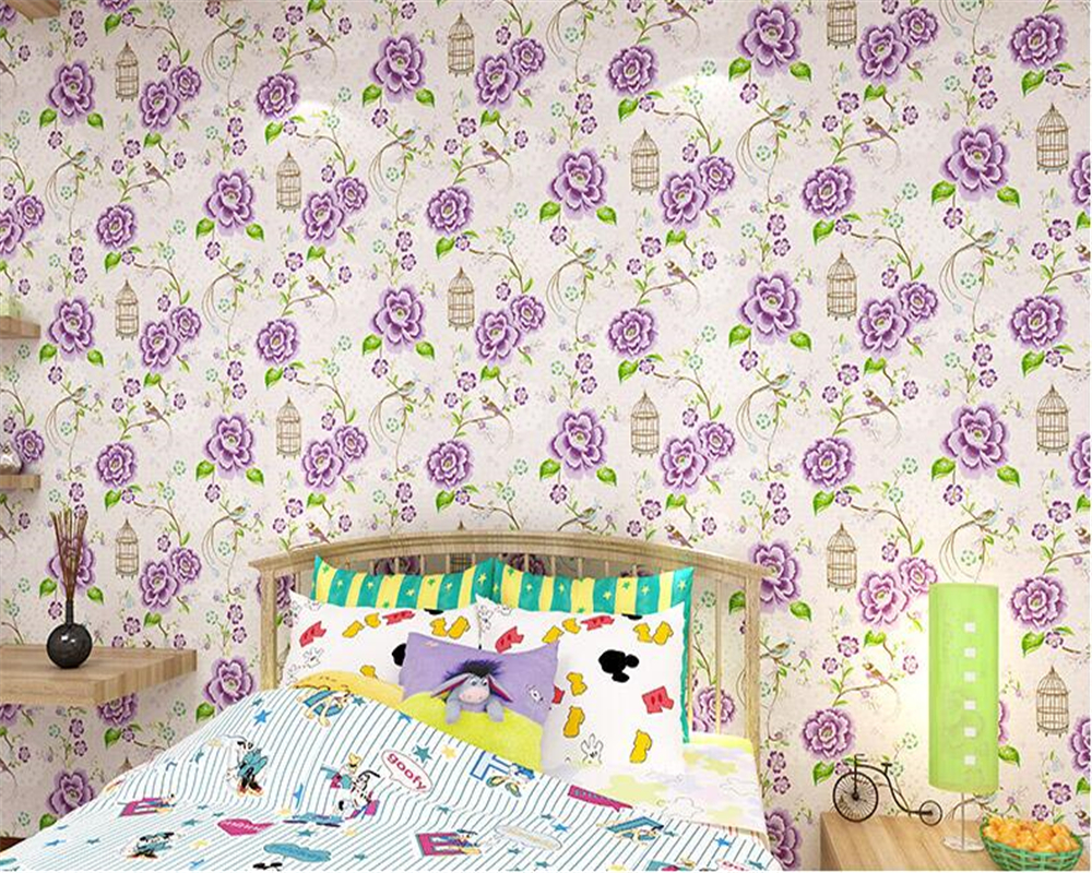 beibehang Nordic garden bird wallpaper warm bedroom background wall nonwoven papel de parede wallpaper blue flowers papier peint nordic background wall spotlight