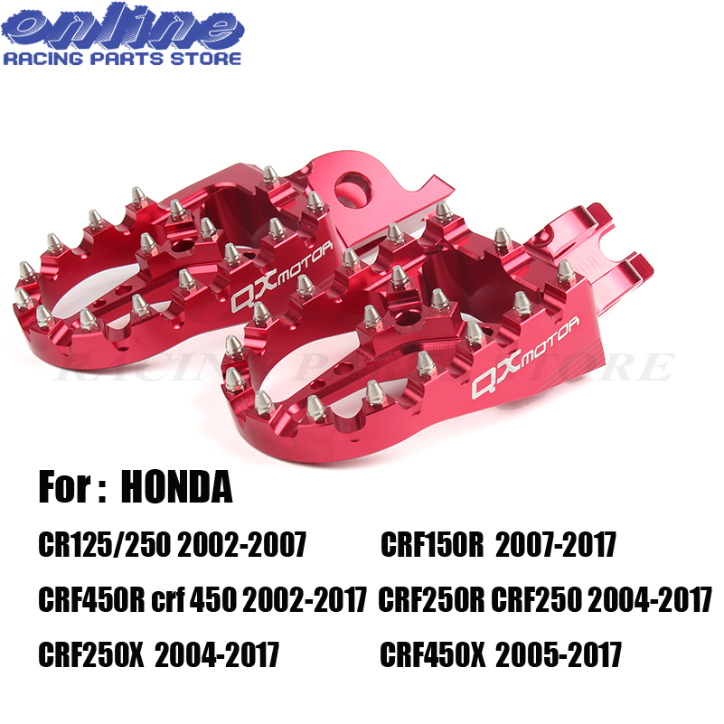 Red CNC Billet MX Foot Pegs Rests Pedals Footpegs For Honda crf450r crf 450 crf250r crf250x CR125/250 Motorcycle Free Shipping