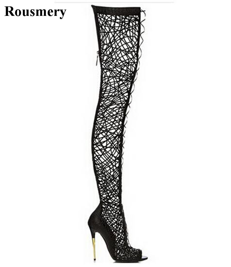 Spring New Fashion Women Sexy Open Toe Lace-up Over Knee Gladiator Boots Cut-out Slim Style Long High Heel Boots Dress Shoes