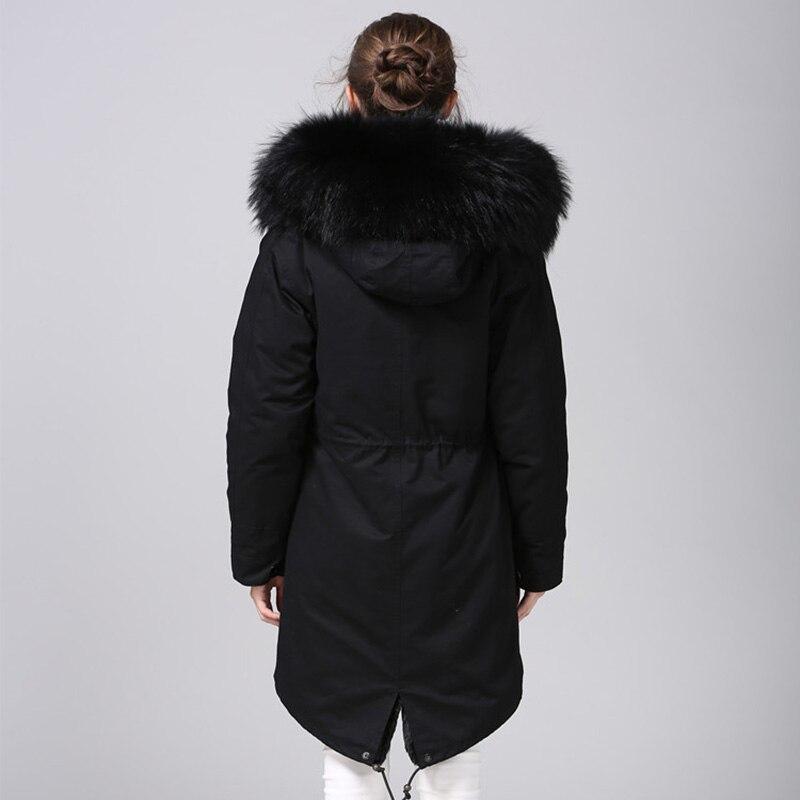 MAOMAOKONG 2018 длинная куртка пальто парки Женское пальто плюс размер зимние парки из натурального енота черная меховая подкладка куртка - 2