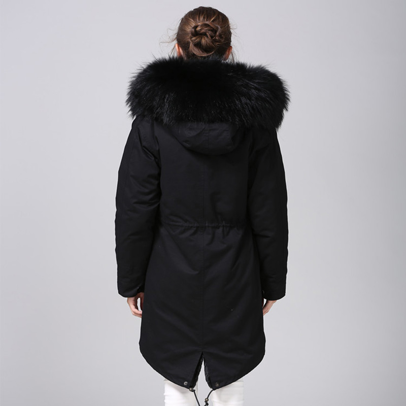MAOMAOKONG 2018 casaco longo casaco Parkas Mujer Brasão plus size inverno parkas guaxinim naturais pele forro de jaqueta preta - 2
