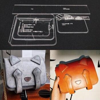 Acrilico Stencil Modello di Taglio Laser In Pelle FAI DA TE Fatti A Mano Del Mestiere Gatto Borsa A Tracolla Modello di Cucitura 220x160x80mm /180x140x70mm