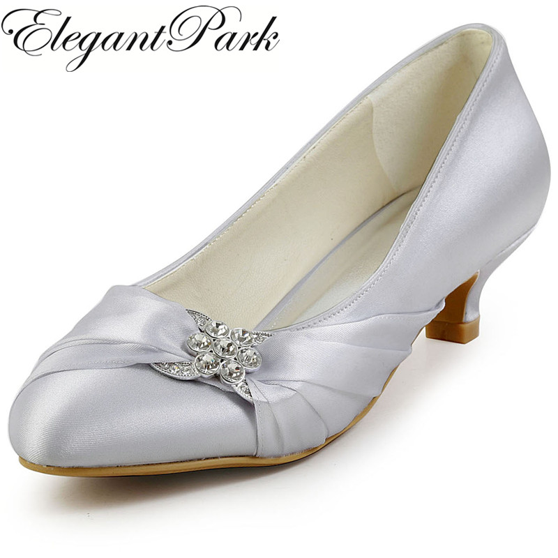 цена на Silver Woman low heel wedding bridal shoes round toe rhinestone satin lady bride bridesmaid evening party dress pumps EP2006LS