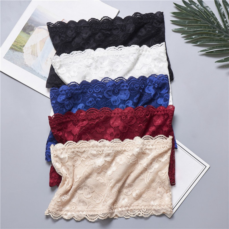 Girls' Strapless Crop Wrap Lace Bandeau Tube Top Women Bustier Boob Tubes Tops Bralette 5 Solid Colors Red Blue White Black