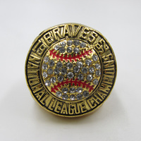 1992 Atlanta Braves National League Championship Ring Replica Coated With Gold Plating