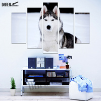 5 Panel Wall Art Cute Husky Animal Painting Canvas Printed For Modern Fashion Dinning Room Decoration