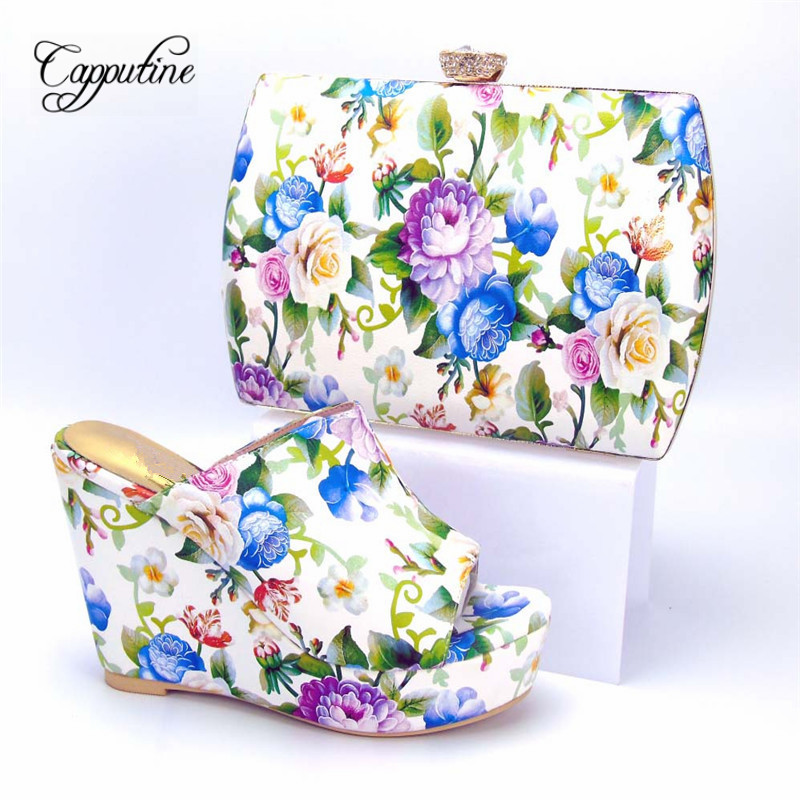 Capputine New European Design PU Leather Shoes And Bag Set Fashion Woman High Heels Shoes And Matching Bag Set For Party Dress capputine new italian woman pu leather shoes and shopping big bag set african fashion high heels shoes and bag set for party