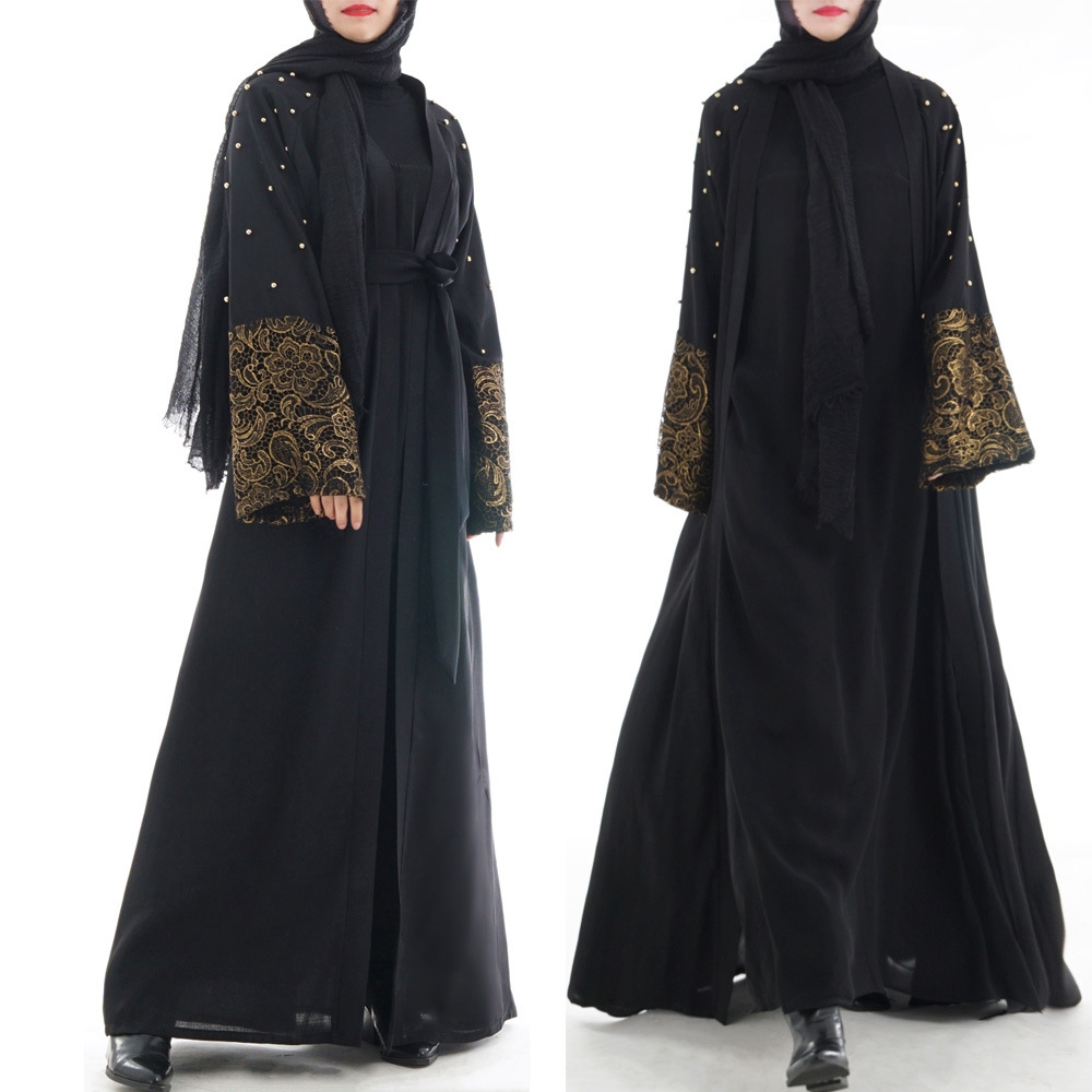 Bead Kaftan Abaya Turkey Dubai Cardigan Hijab Muslim Dress Ramadan Abayas for Women Caftan Marocain Islamic Clothing 2019 New