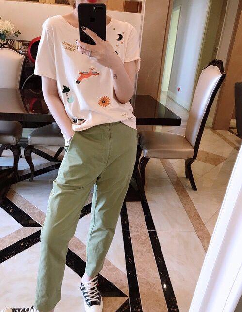 Women   T  -  shirt   2019 Summer pink flower bird Embroidery Short Sleeve   T     shirt