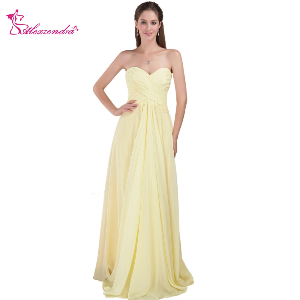 Us 80 1 10 Off Alexzendra A Line Chiffon Yellow Bridesmaid Dress For Wedding Sweetheart Pleats Long Party Gown Plus Size In Dresses From