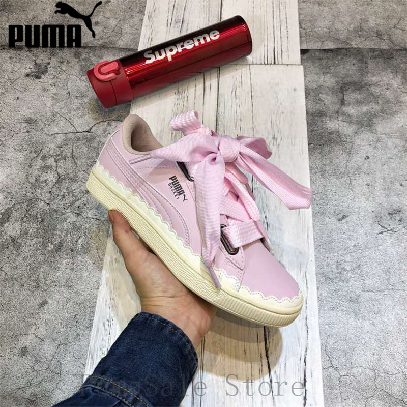 28868a492133 New Arrival PUMA BASKET HEART SCALLOP WNS Badminton Shoes 366979-02  Lightweight Women s Breathable Sneakers