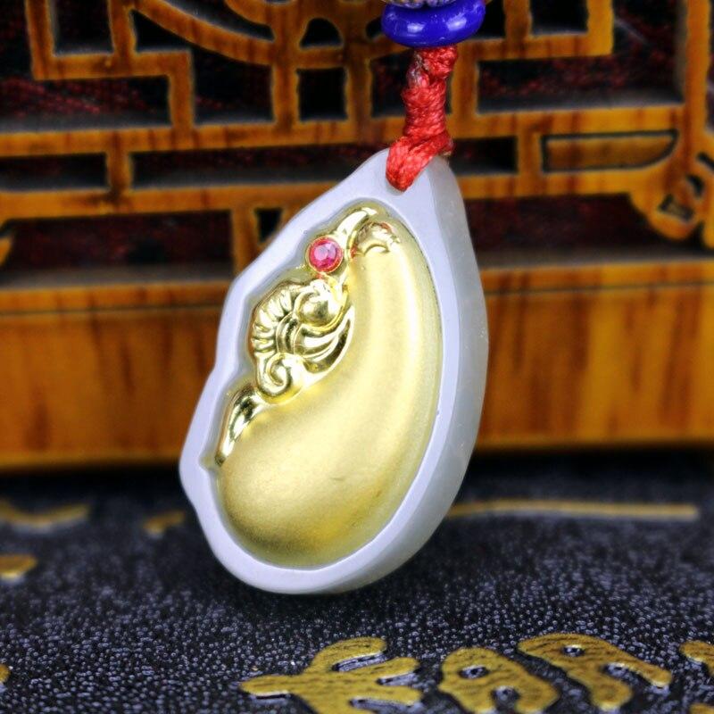 Men Women Eggplant Fugu Gold Hetian Jade Pendant Necklace New Design Top  Quality Hot Sales Gift f1cfa0b8d