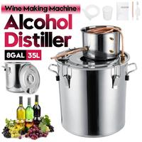 8GAL/35L Distiller Moonshine Alcohol Distiller Stainless Copper DIY Home Water Wine Essential Oil Brewing Kit