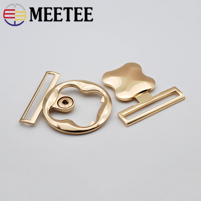 Meetee 2/5pcs <font><b>50mm</b></font> Fashion <font><b>Button</b></font> Metal Belt <font><b>Button</b></font> Coat Clothing Decorative Belt Buckles DIY Crafts Sewing Accessories CN036 image