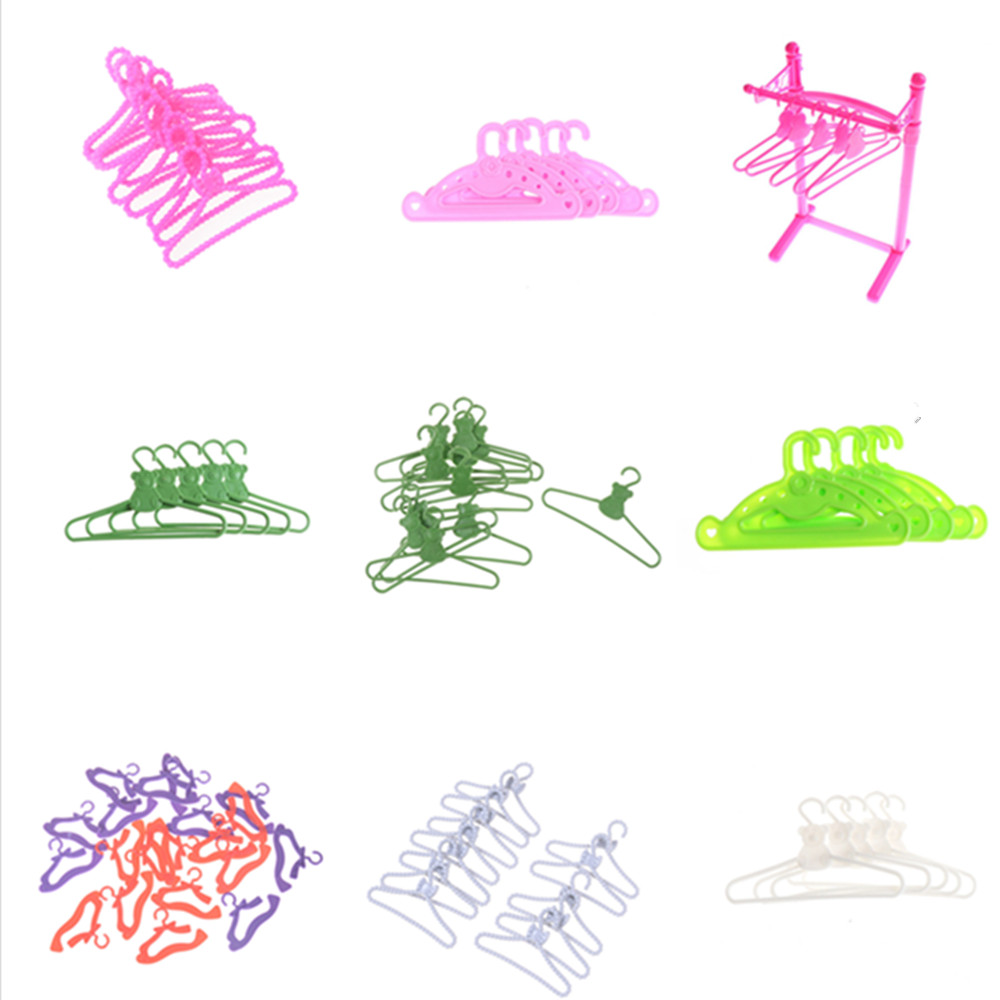 5/6/10/12/20pcs/set Hangers Coat Rack Accessories For  Clothes Dress Outfit Skirt Shoes Doll Pretend Play House Gift Toy