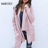 NIBESSER Fashion Irregular Knitted Long Cardigans Women Autumn Winter Open Stitch Poncho Sweater 2018 New Year