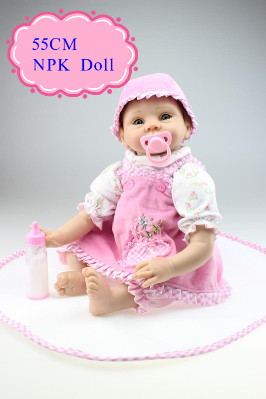 Christmas Hot Gift 55cm 22inch Silicone-Reborn -Dolls With Adora Pink Dress NPK Hot Brand Soft Vinyl Bebe Reborn Dolls Best Gift new style girl dolls full silicone reborn dolls with beautiful dress adora dolls bebe reborn de silicone menica