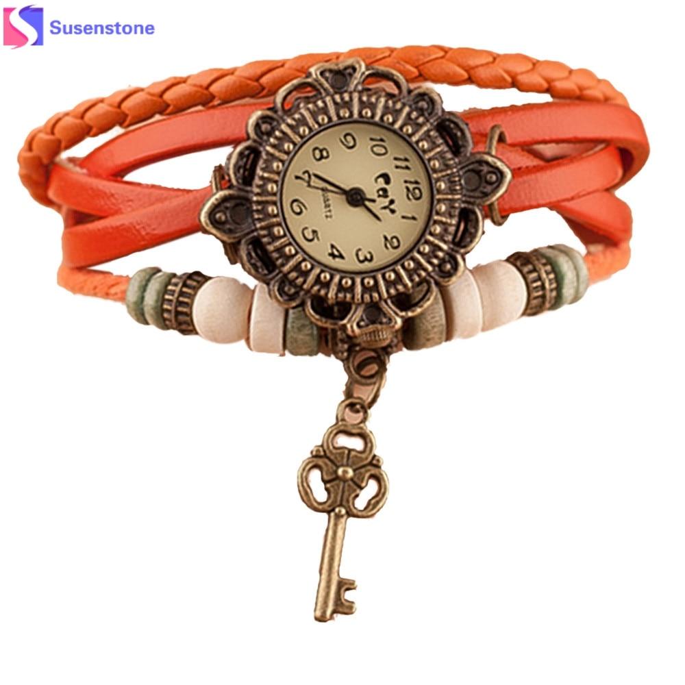 2018 Hot Quartz Weave Around Leather Key Bracelet Lady Woman Girl Wrist Watch
