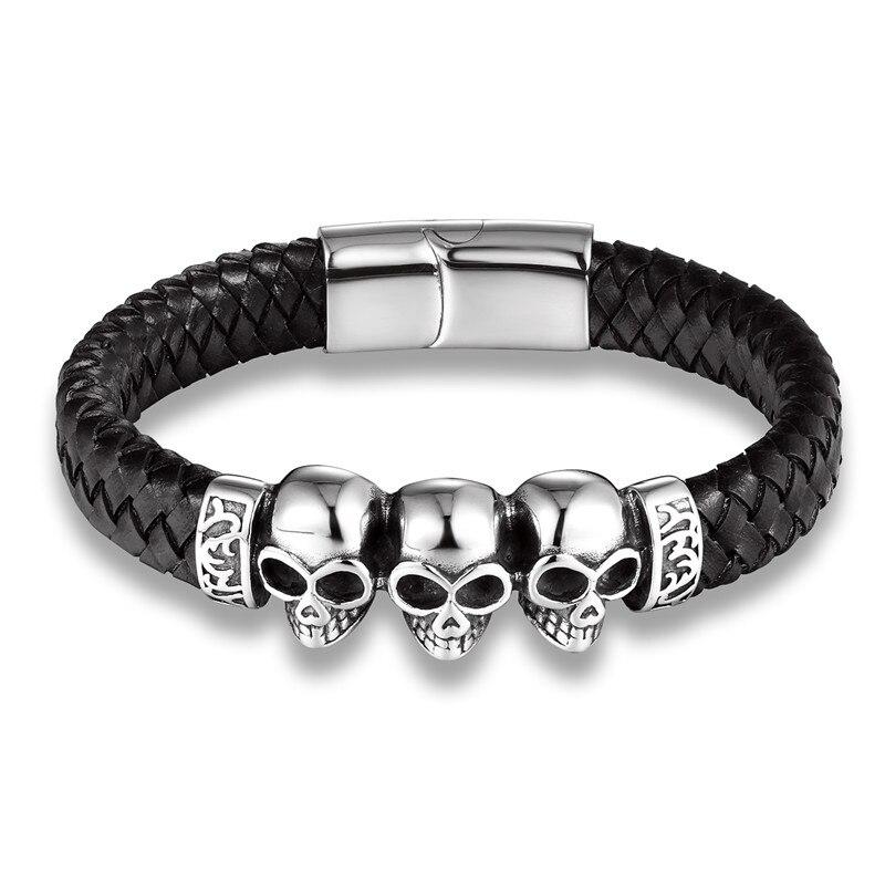 Bracelet en cuir crâne en acier 7