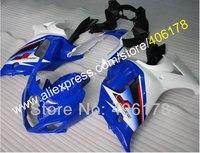 Лидер продаж, индивидуальные GSX650F 08 09 10 11 12 13 обтекатель для Suzuki GSX650F обтекатель 2008 2013 сине белые мотоциклов Обтекатели