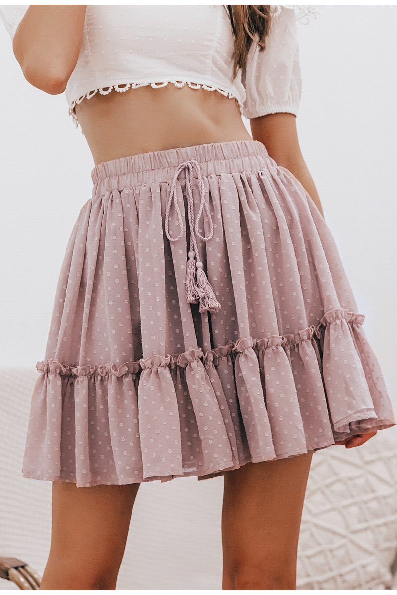 Simplee Casual polka dot mini women skirt High waist A line korean tassel pink summer skirt Sexy ruffle beach female skirts 2019 7