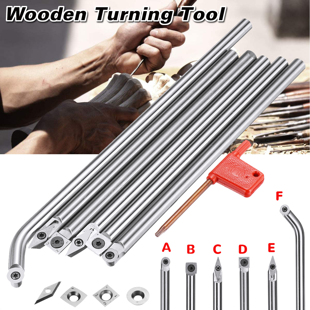 DIY Wood Turning Tool Chisel Carbide Tip Round Insert Cutter Tool Angled Shank Woodworking Tool 6 Size