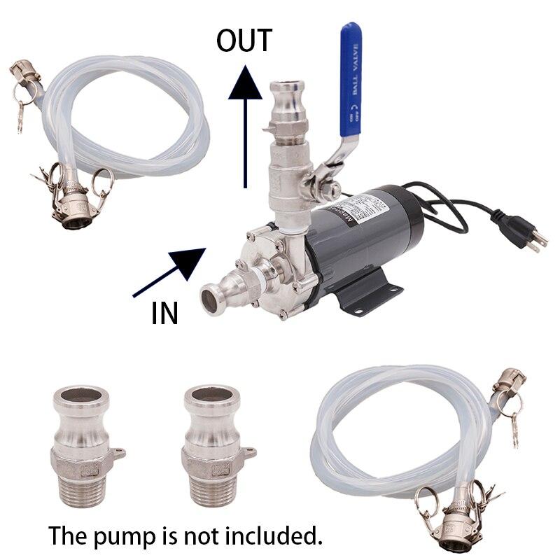 Transfer pompası kamlok hızlı bağlantı kiti Homebrew pompa aksesuarları gıda sınıfı silikon ve paslanmaz çelik 304