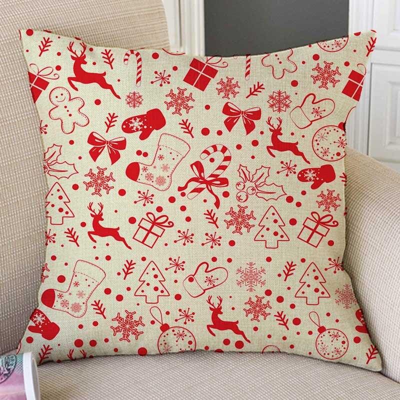 """18/"""" Xmas Christmas Throw Pillow Case Cotton Linen Sofa Cushion Cover Home Decor"""