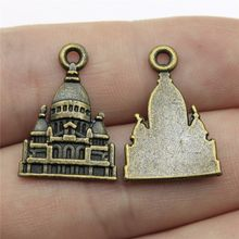 Baroque Castle Charms Pendant Diy Metal Jewelry Making Antique Bronze Color 0.9x0.6 inch (23x16mm) 30pcs/lot(China)