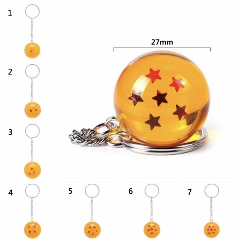 Dragon Ball Keychain Goku Japan Cartoon Anime Keyring Figures Ornament Stars Crystal Ball Keyring Chain Collection Gift Key Ring