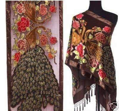 Chinese Tradiitional Handmade Embroidery Beaded Scarf Shawl 100% Silk Velvet Pashmina Cape Women Cape Poncho 172 x 68 cm