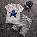 Nueva Caliente la Ropa Del Bebé Muchachos Del Verano 2017 Patrón de la Ropa Estrellas Muchachos Del Niño Camisetas + BB Cortocircuitos de Los Niños Ropa de los cabritos