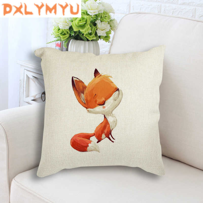 Aquarela Fox Coelho Bonito Imprimir Linen Throw Pillow Sofá Capa de Almofada Cintura Pillow Decor Home Caso Presente