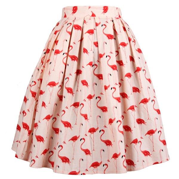 The Flamingos S vintage As Rockabilly Gonna Feminina Plisada Pink Fenicotteri Más 40 50 Saia Tamaño Pinup Picture Imprimir Falda Midi Faldas 1qpnqFH