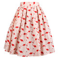 Vintage 50 s pin up de color rosa flamencos rosa high cintura plisada falda de midi plus size saia feminina rockabilly van a odiar fenicotteri faldas