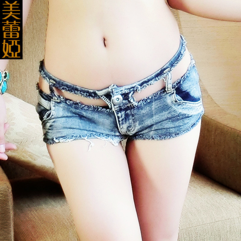 1PCS Sexy Hollow Micro MINI Jeans Hot Shorts Ripped Low Rise Waist Booty Short High Cut