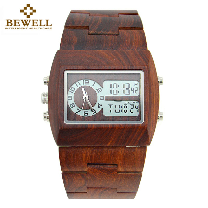 BEWELL 021A LED Analog Rectangle Wood Watch Mens Watches Top Brand Luxury Multi-function Wooden Sport Watch Quartz Wristwatches недорго, оригинальная цена