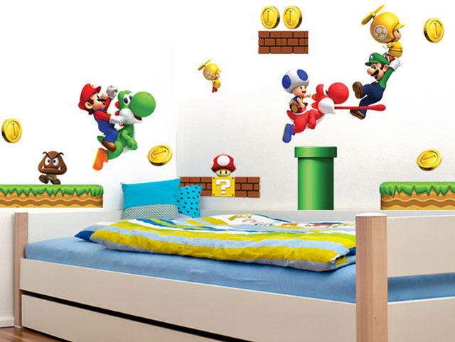 ... Monopoly] New Pvc Super Mario Bros Wall Sticker Home Decor For Kids  Rooms ...