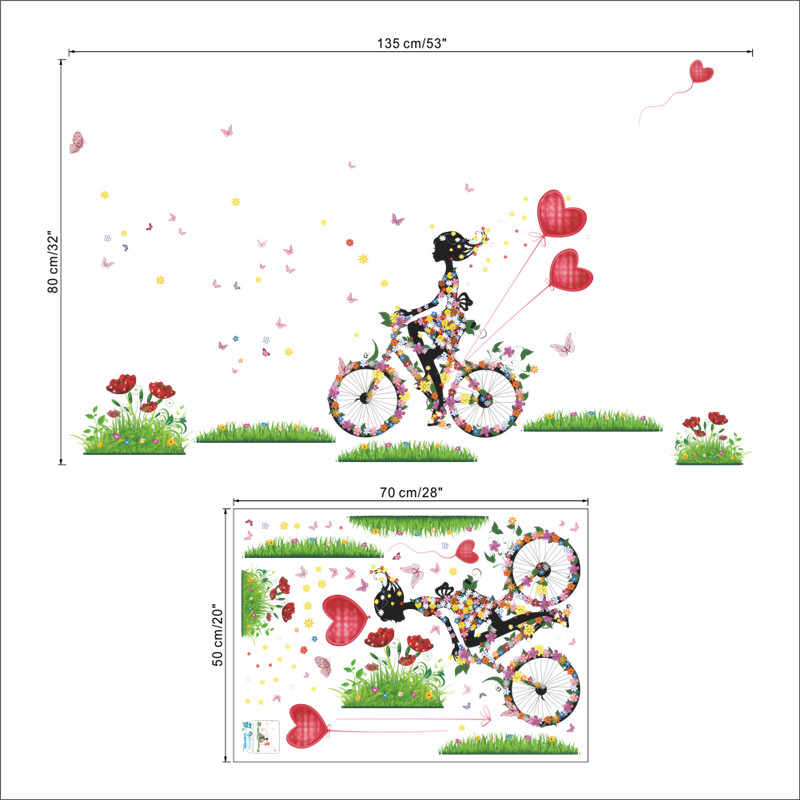 Flower Angel Fairy Beauty Butterfly Flora Red Heart Bike Wall Stickers For Kids Rooms Home Decor Pvc Decals Diy Mural Art Poster